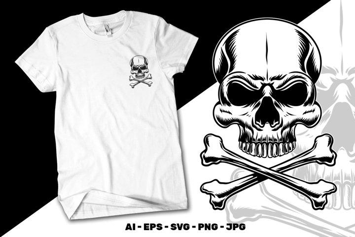 Skull and crossbones vector illustration