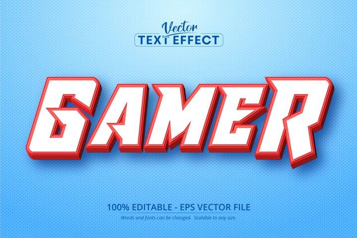 Gamer text, cartoon style editable text effect