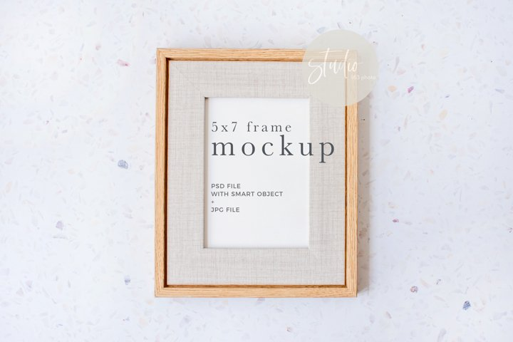 5x7 Frame Mockup with Mat Vertical Styled Photography