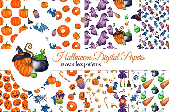 Halloween Digital Papers with cute Witch, Ghost, Cat example