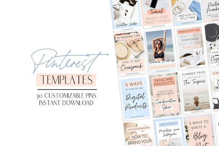 Blue & Peach Pinterest Templates