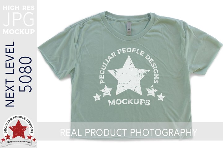 Crop Top Tshirt Mockup JPG Green Next Level Flat Lay 5080