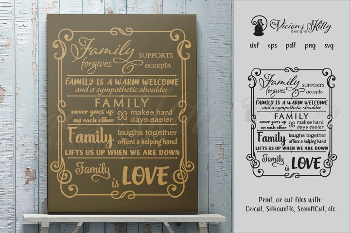 Family word collage in swirly frame, word collage
