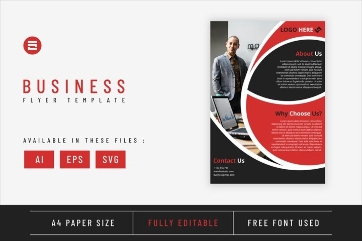 Business flyer template with red geometry shapes design