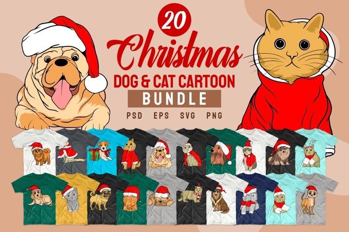 Christmas Dog and Cat Cartoon SVG Bundle T-shirt Designs