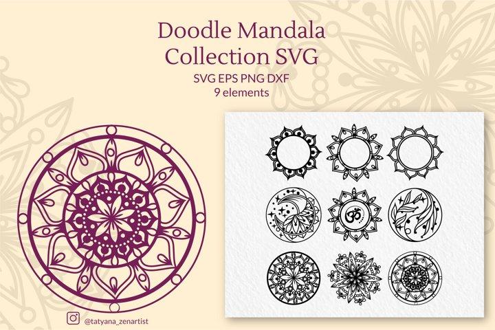 Doodle linear Mandala Collection SVG, Zentangle SVG cut file