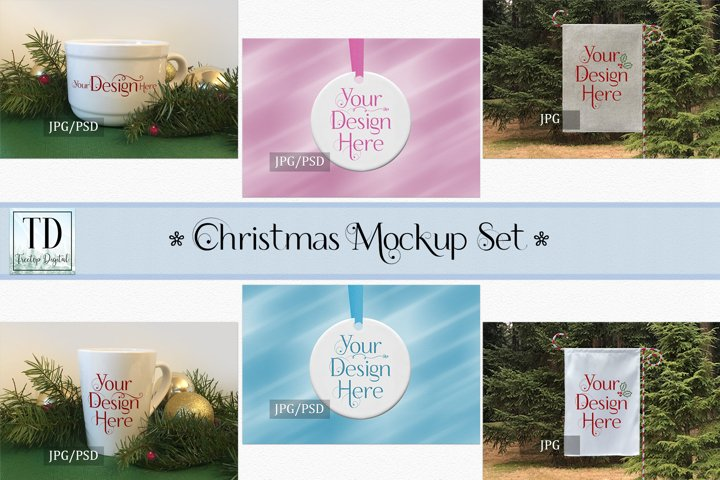 Christmas Mockup Bundle, Mug, Ornament, Flag, Xmas Mock-Ups