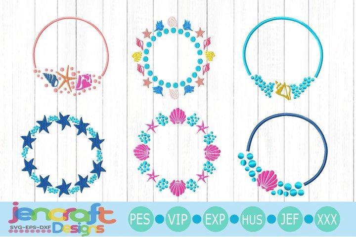 Seashells Embroidery Monogram Frame Bundle PES, EDR, EXP