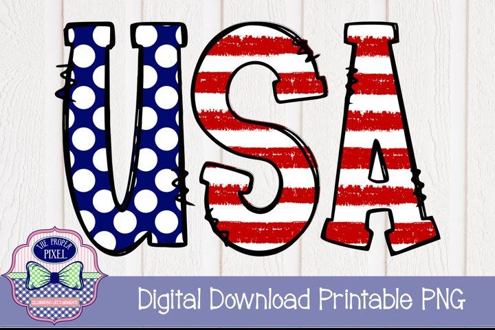 Girls USA Doodle Letter Design