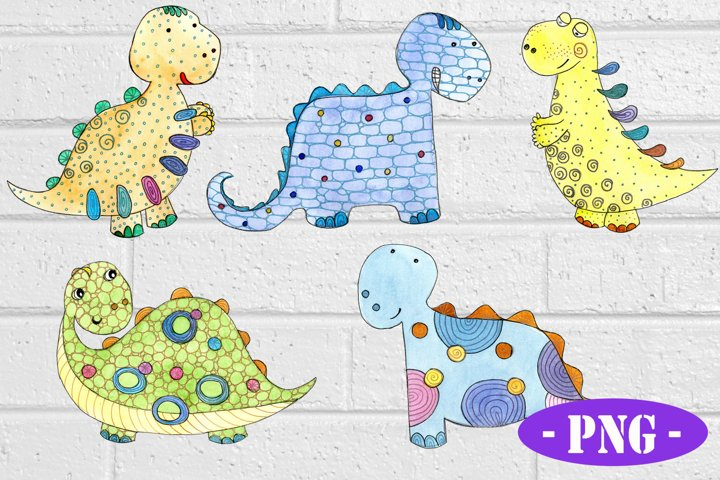 SET of 5 cute Dinosaurs for Sublimation PNG
