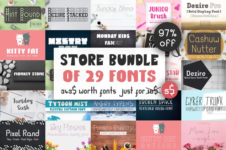 Store Bundle of 29 Fonts - Dasagani Shop Fonts Bundle