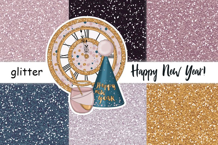 Happy New Year Gold GLITTER Winter Print Digital Paper JPEG
