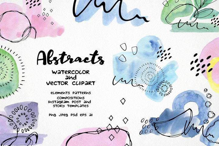 Abstract shapes clipart - watercolor & vector line art set