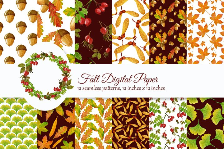 Fall Digital Paper, Watercolor Autumn paper