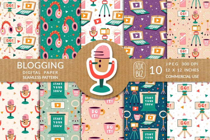 Blogging stuff seamless patterns. Camera, microphone, laptop