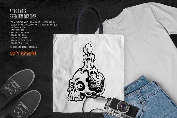 Halloween burning candle on skull