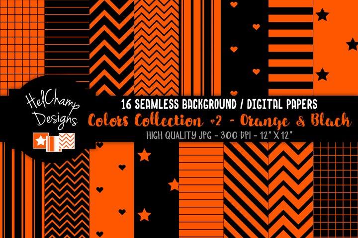 16 seamless Digital Papers - Orange and White - HC115