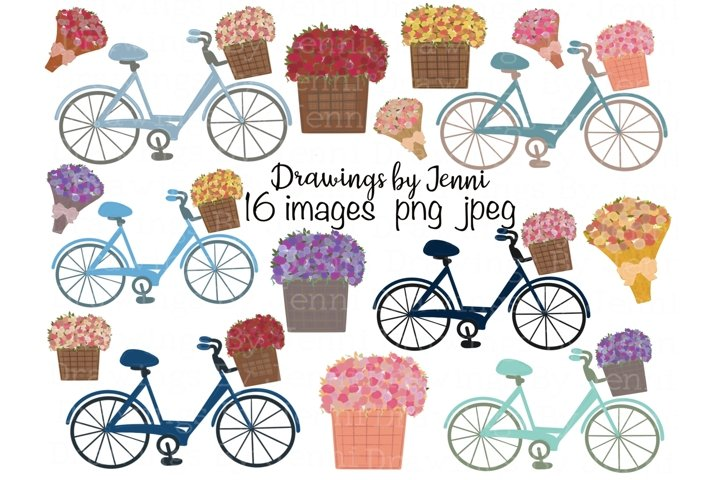 Bicycle, Flower Basket, Flower Bouquet Clipart Set
