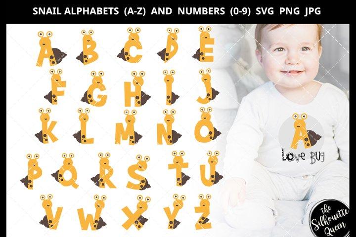 Snail Alphabet Number SVG Cut File