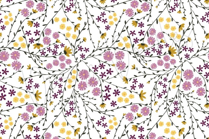 Simple Yellow and Purple Floral Seamless Pattern