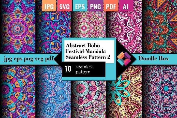 Abstract Boho Festival Mandala Seamless Pattern vol.2