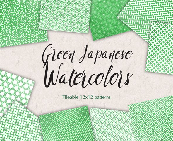 Greenery Digital Paper Japanese Background Patterns in Green