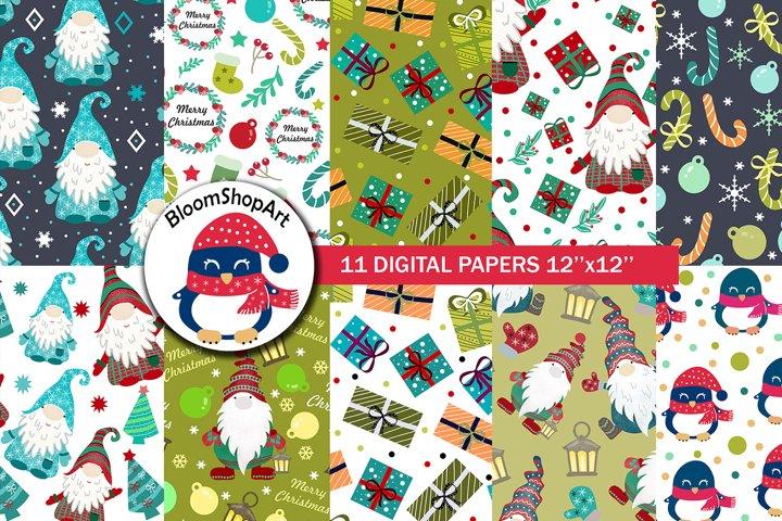 Cute christmas gnome paper pack, christmas digital paper