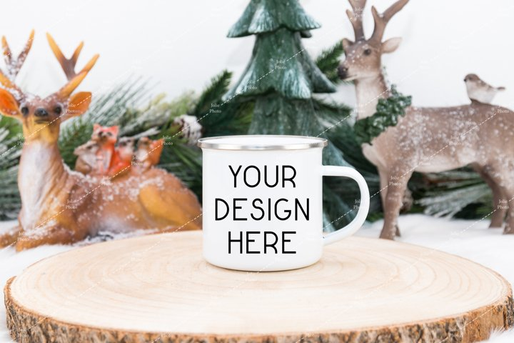 Blank White Enamel Coffee Cup Mug Winter Mockup