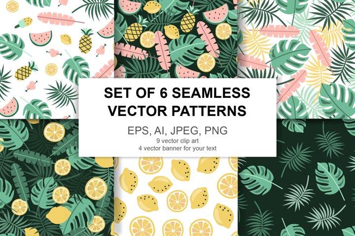 Vector summer set, 6 vector seamless pattern, 4 banners