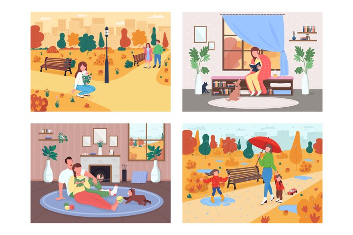 Fall activity flat color vector illustration set