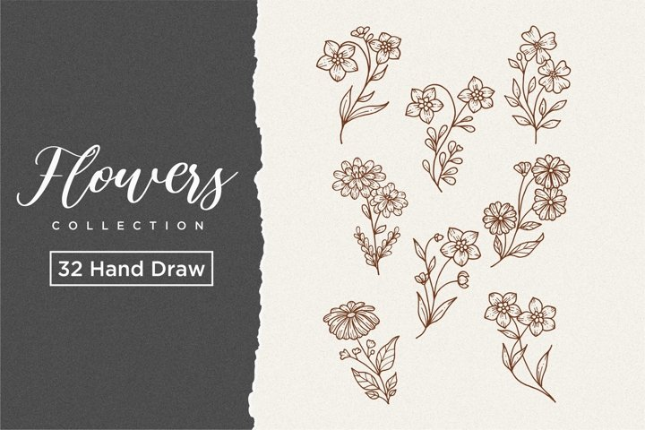 Realistic hand-drawn flowers