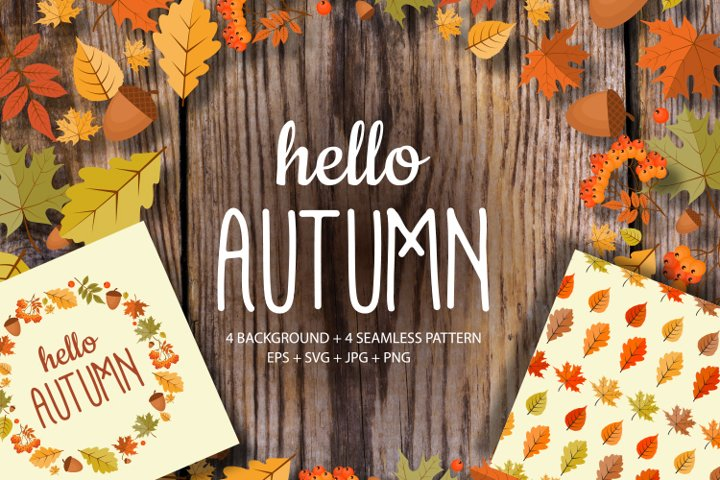 Hello Autumn Natural Background and seamless pattern set