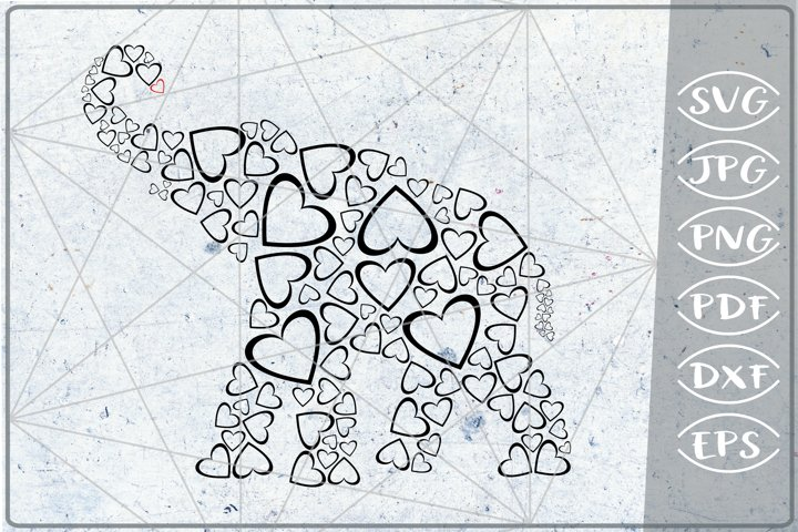 Elephant Svg Hearts Print in Heart Cutting File Love Crafter