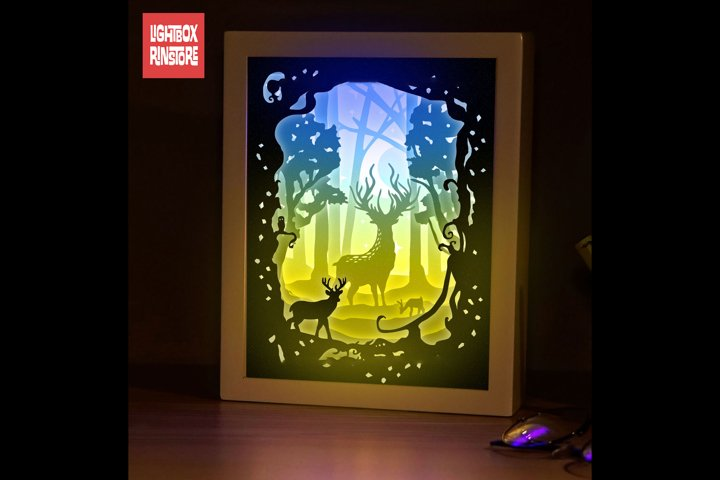 #175 Deer Spirit, 3D Shadow box paper cut lightbox