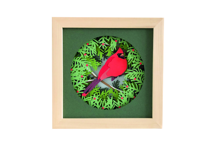 Cardinal Christmas Shadow Box 3D Papercut Template