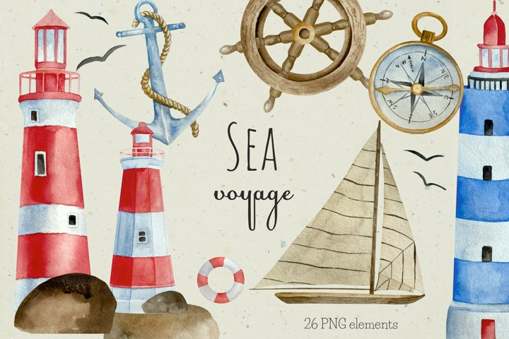 Watercolor Nautical Clipart