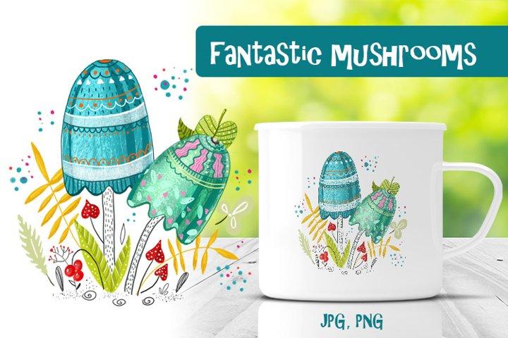 Illustration fantastic mushrooms