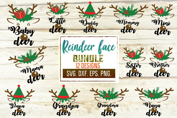 Reindeer Face Bundle. Matching Family Christmas. Deer Svg