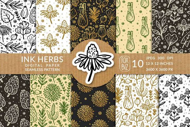 Ink herbs, plants. Digital paper, seamless pattern.