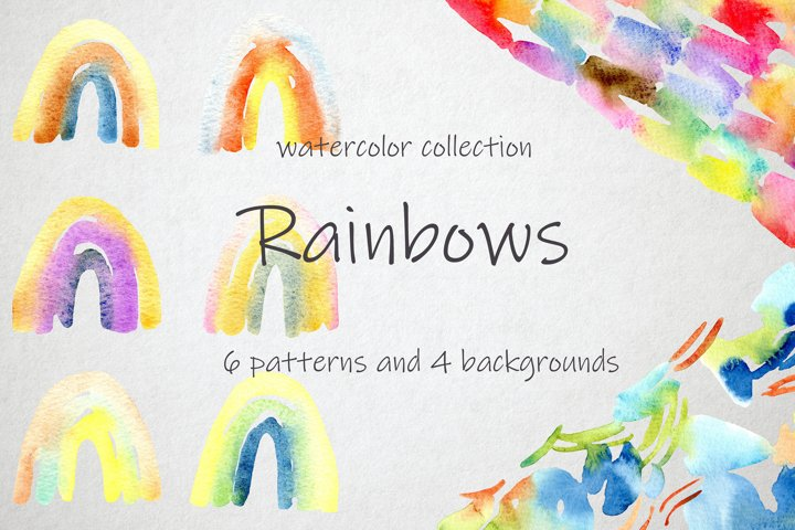 Rainbow Watercolor Patterns and Backgrounds