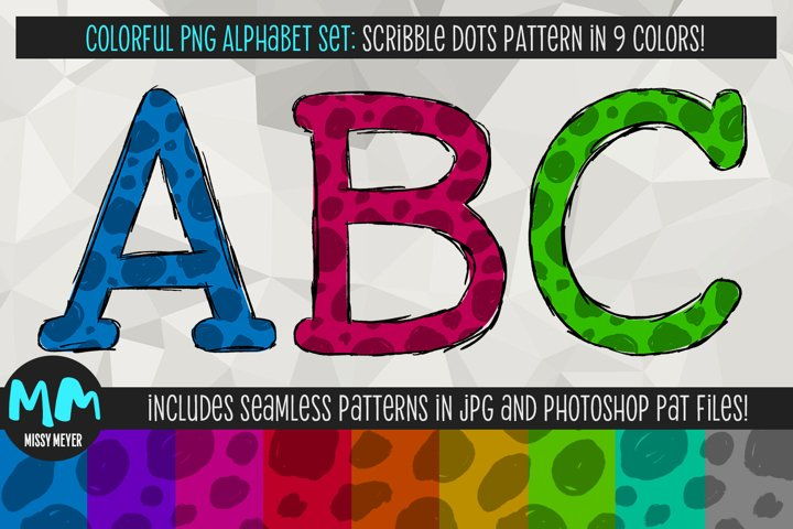 9 colorful pattern PNG alphabets for sublimation and print!