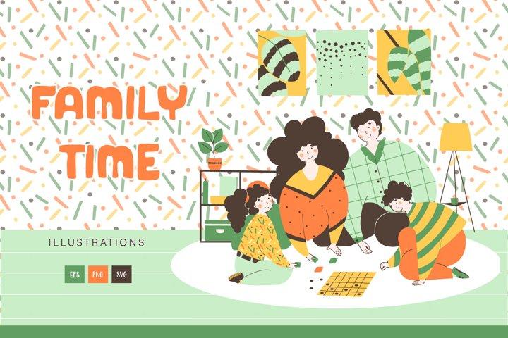 Family time - warm illustration