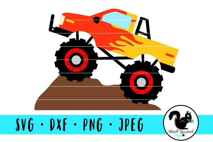 Monster Truck with Red Flames on Dirt Mound SVG, Truck Jam