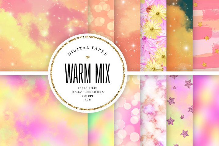 Warm Colors Backgrounds Mix - Abstract Digital Paper