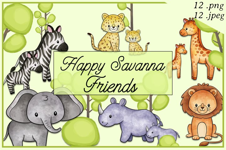 Happy Savanna Friends Wild Africa Baby Animals Illustrations