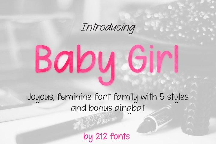 212 Baby Girl Handwritten OTF Font Family