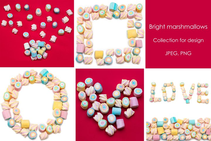 Bright marshmallows - Collection for design.