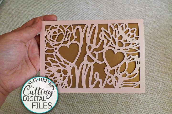 Gate Fold Wedding invitation Card laser cut cricut svg dxf