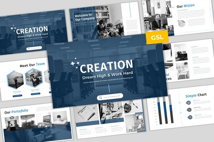 Creation - Creative & Elegant Business GoogleSlides Template