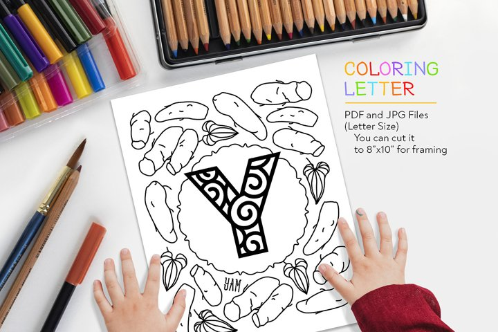 Letter Y - Yam Coloring Page
